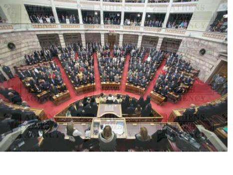 Greece's new 300-member parliament that emerged from the October 4 general elections was sworn-in on Wednesday morning, in a special ceremony in the unicameral House. (ANA-MPA/Aliki Eleftheriou)